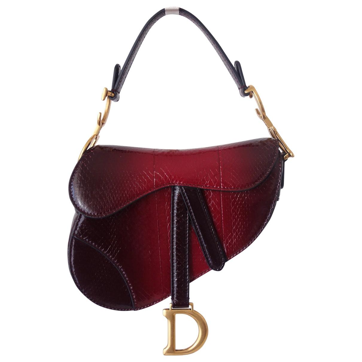 Dior - Sac a main Saddle pour femme en python - bordeaux