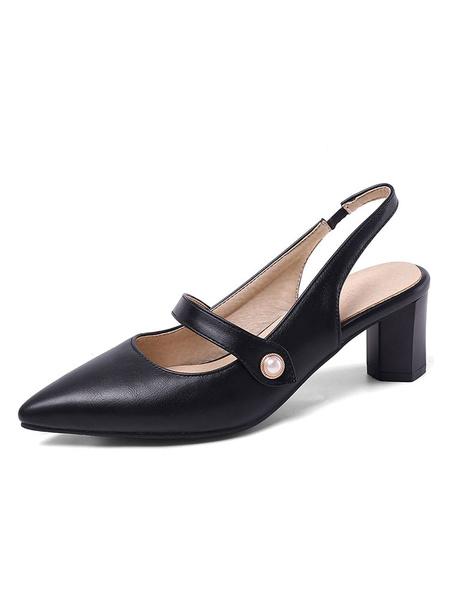 Milanoo Slingback Tacones bajos Zapatos de tacon en punta con tacon en bloque Zapatos de talla grande para mujer