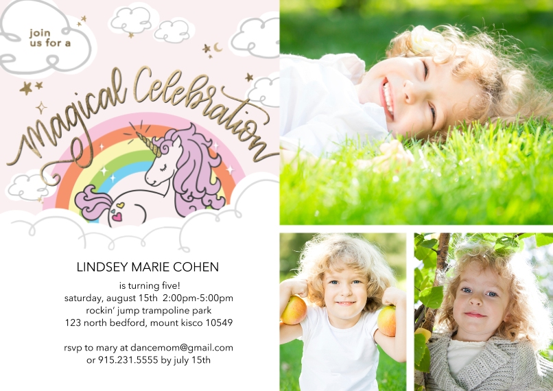 Kids Birthday Party 5x7 Cards, Premium Cardstock 120lb with Scalloped Corners, Card & Stationery -Birthday Party Magical Unicorn Invite by Tumbalina