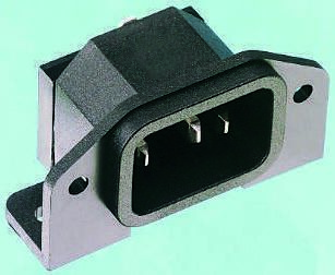 Bulgin C14 Right Angle Panel Mount, PCB Mount IEC Connector Male, 10A, 250 V ac