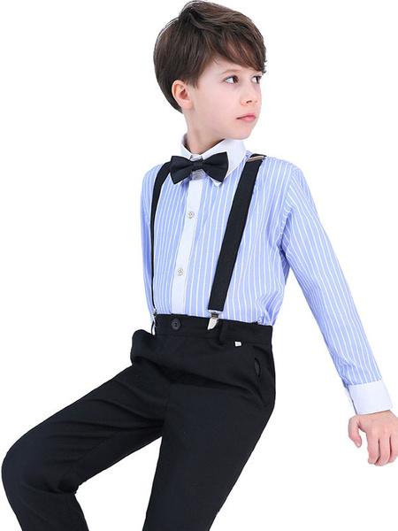Milanoo Trajes de portador de anillo Azul de algodon de manga larga pantalones Cravat camisa Negro Wedding Boy Suits 3pcs
