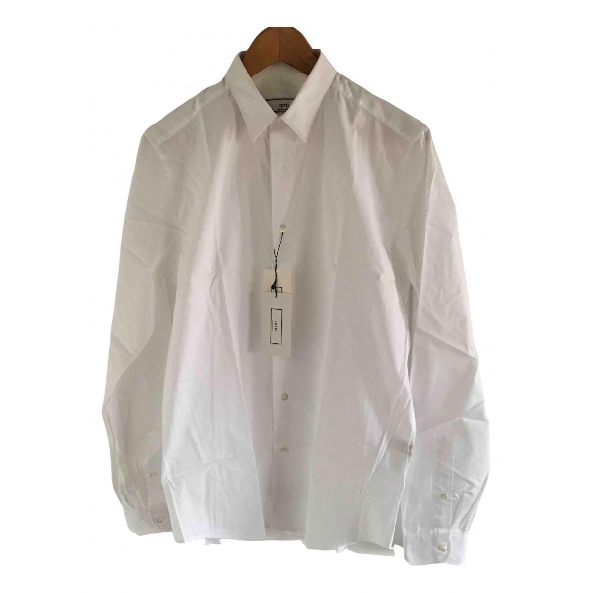 Ami N White Cotton Shirts for Men 39 EU (tour de cou / collar)