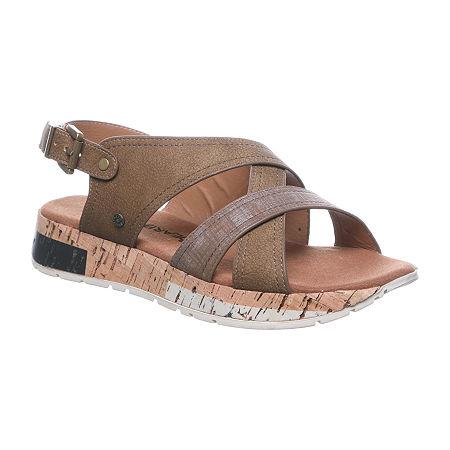 Bearpaw Womens Shelly Flat Sandals, 6 Medium, Brown