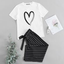 Heart Print Top & Self Belted Striped Pants Set