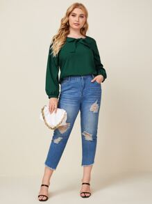 Plus Sweetheart Neck Bow Front Blouse
