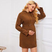 Maternity Raglan Sleeve Drawstring Hooded Dress