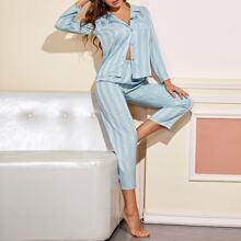 Satin Schlafanzug Set mit Streifen Muster