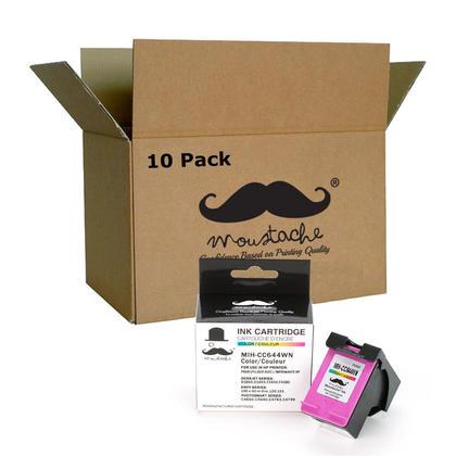 Compatible HP 60XL CC644WN cartouche d'encre couleur haute capacite - Moustache - 10/paquet
