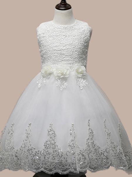 Milanoo Princess Girl Dress Manadlian Child Girls Wedding Dress Bridesmaid Dress Sequined Strapless Long Skirt Organza 2-12 Years 5 Colors