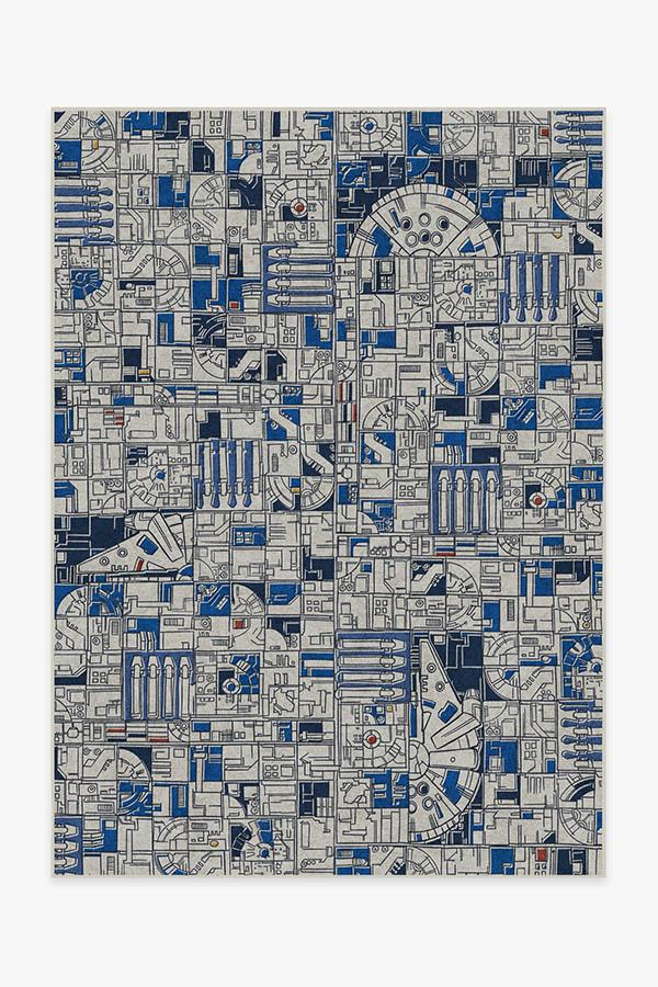 Washable Rug Cover & Pad | Smugglers Geo R2D2 Blue Rug | Stain-Resistant | Ruggable | 5x7