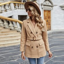 Double Breasted Lapel Collar Belted Overcoat