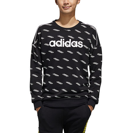 adidas Mens Crew Neck Long Sleeve Sweatshirt, X-large , Black
