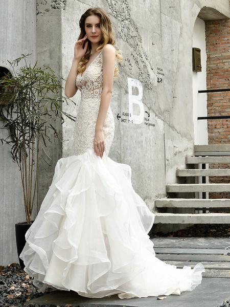 Milanoo Vestidos de novia de novia Vestidos de novia de encaje con cuello en V sin mangas de sirena con tren