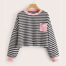 Striped Colorblock Oversized Sweatshirt