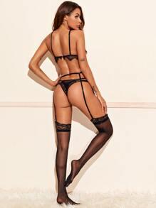 Eyelash Lace Garter Underwire Lingerie Set & Stockings