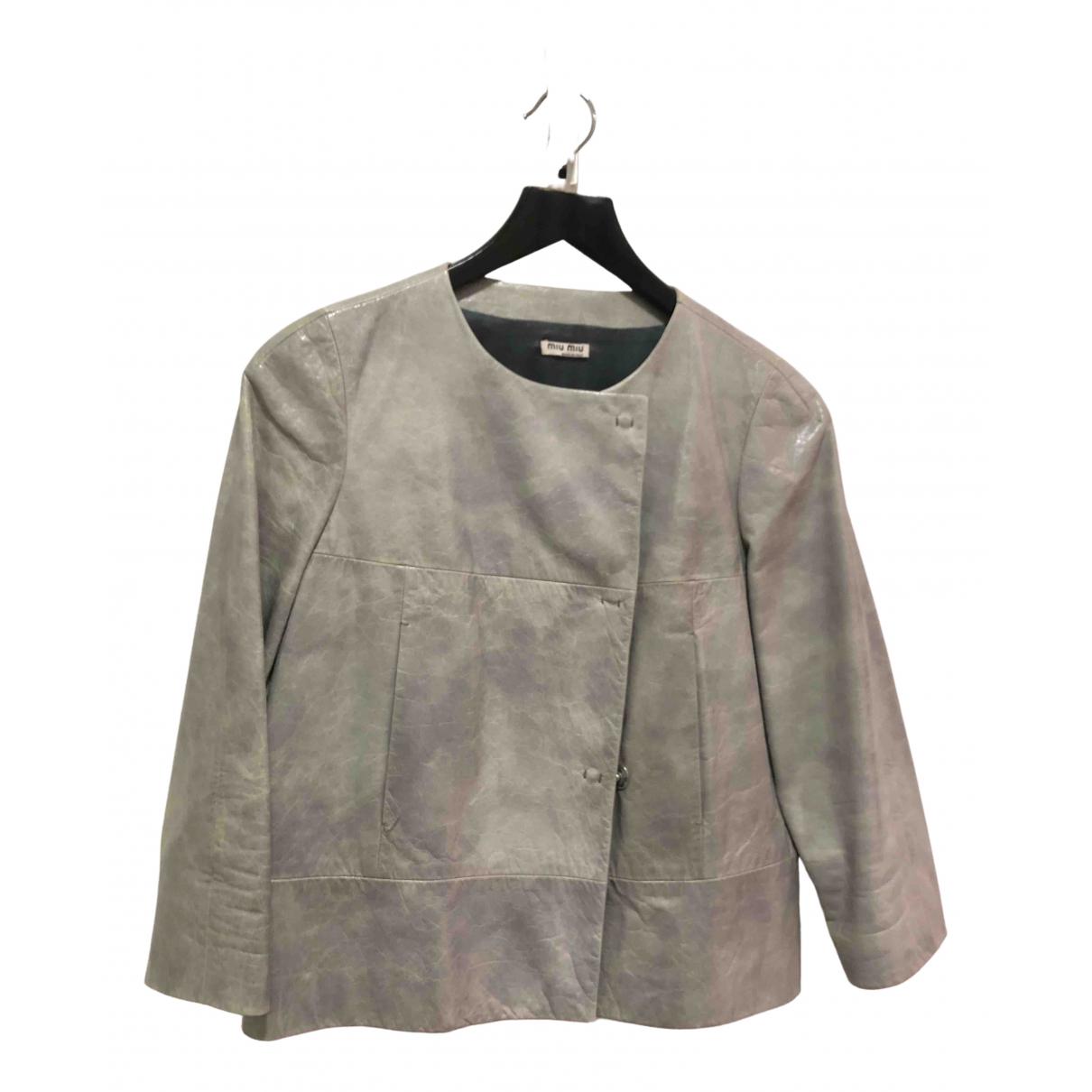 Miu Miu - Blouson   pour femme en cuir - gris