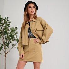Solid Drop Shoulder Jacket & Pocket Patched Skirt