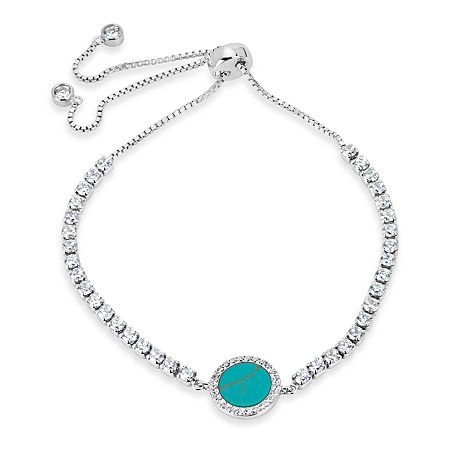 Womens Simulated Turquoise Sterling Silver Bolo Bracelet, One Size , No Color Family