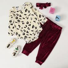 Baby Girl Allover Print Bodysuit & Velvet Pants & Headband