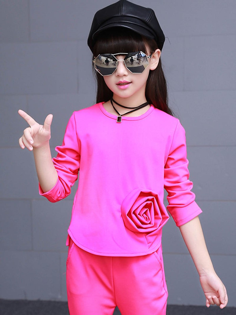 Ericdress One Flower Plain Tow Pcs Girls Casual Outfit