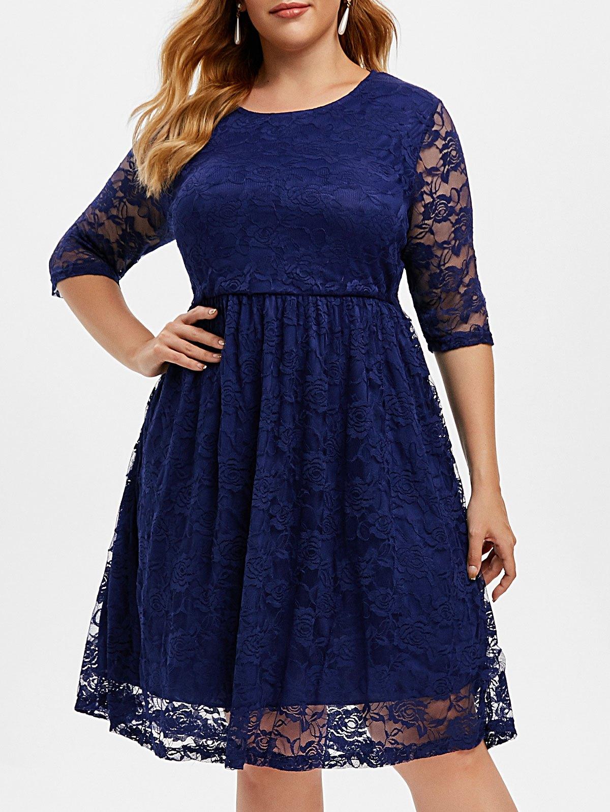 Lined Lace Plus Size A Line Dress