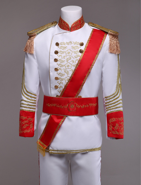 Milanoo Royal Retro Costume Men's White European Vintage Prince Charming Costume Outfit Halloween