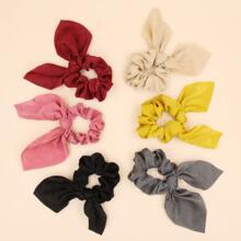 6pcs Bow Decor Scrunchie