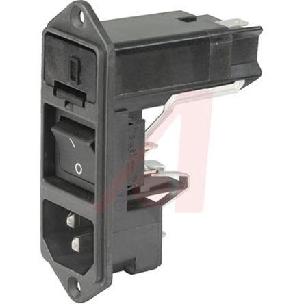 Schurter C14 Screw Mount IEC Connector Male, 10A, 125 V ac, 250 V ac, Fuse Size 5 x 20 mm, 6.3 x 32 mm