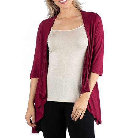 24/7 Comfort Apparel 3/4 Length Sleeve Open Cardigan, Large , Red