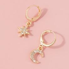 1pair Moon & Star Design Hoop Earrings