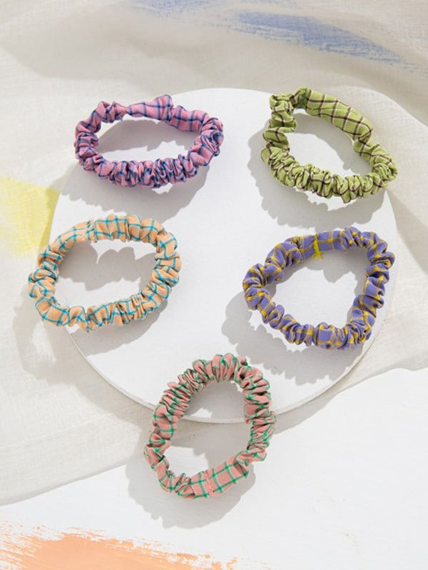 5Pcs Plaid Fabric Elastic Hair Ties Set