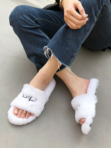 Milanoo Women Faux Fur Slippers Blue Open Toe Winter Slide Shoes