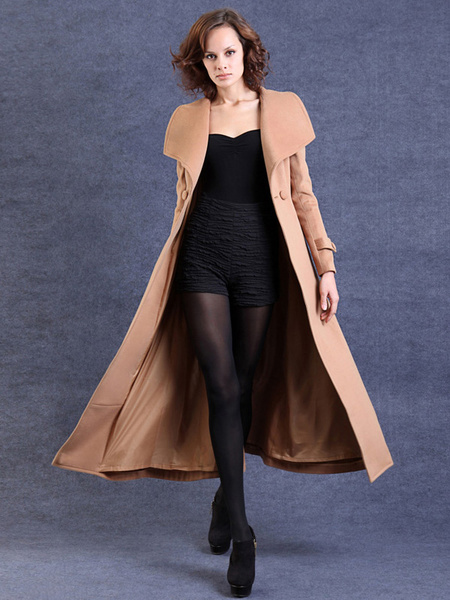 Milanoo Light Tan Wool Wrap Coat For Woman
