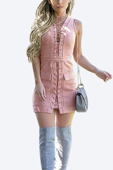 Yoins Pink Suede Lace-up Design Mini Dress