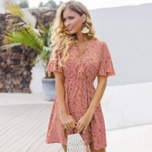 Ditsy Floral Surplice Belted Dress