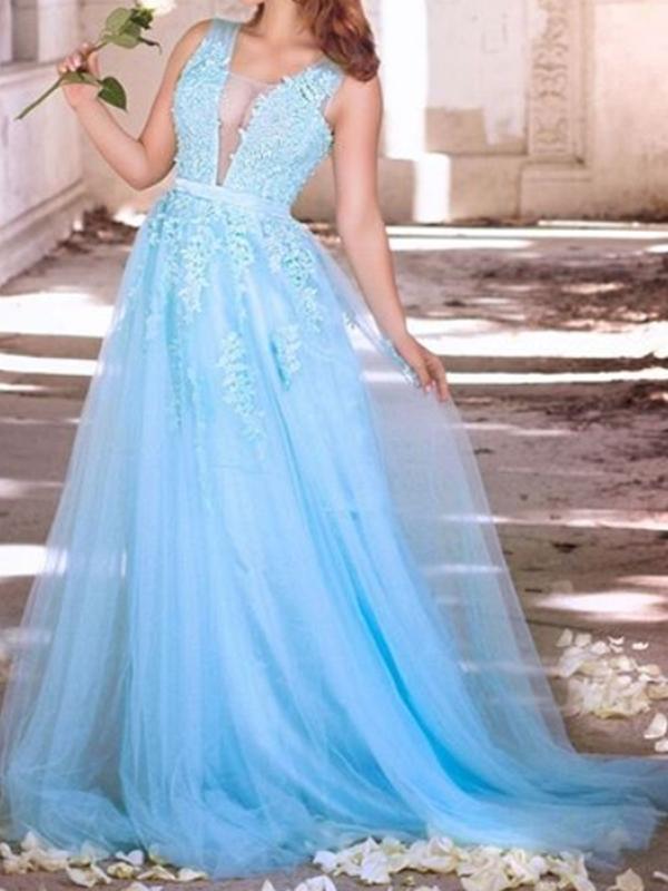 Ericdress Sleeveless Straps A-Line Floor-Length Prom Dress