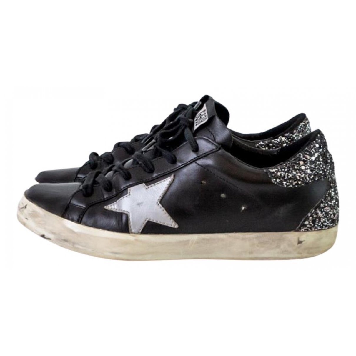 Golden Goose N Black Leather Trainers for Women 37 EU