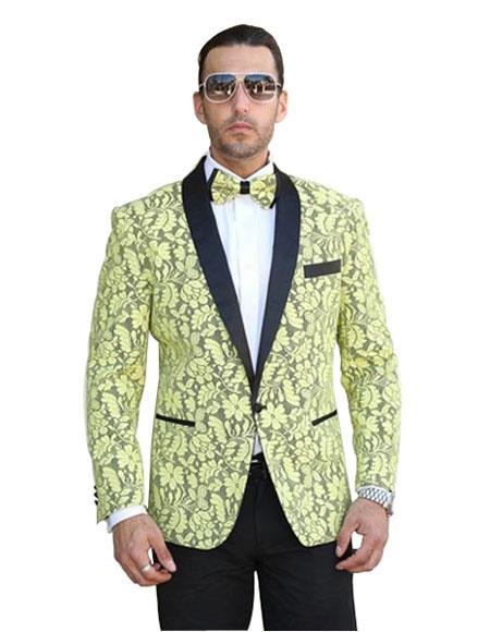Mens Floral Pattern Paisley Dinner Jacket Tuxedo Yellow Blazer