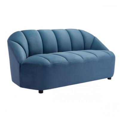 Paramount Collection 101215 67.7 Sofa with Channel Tufting  Deep Seat  Armless Profile  Velvet Upholstery in Dark Blue