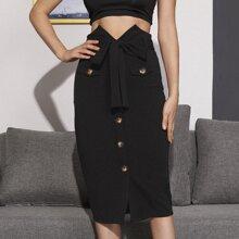 Notch Waist Belted Button Up Skirt