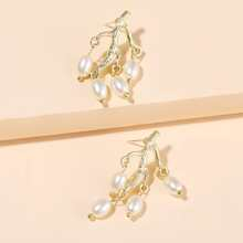 Faux Pearl Branch Drop Earrings