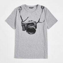 Men Camera Print Tee