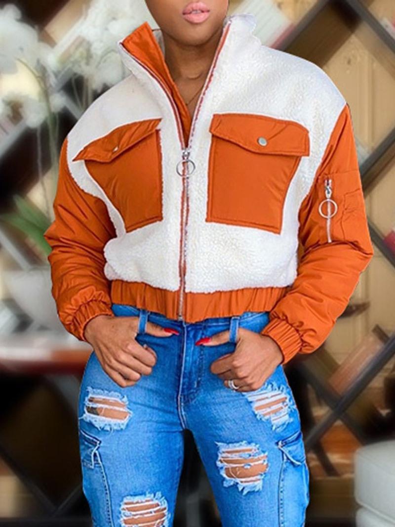 Ericdress Straight Long Sleeve Zipper Standard Stand Collar Jacket