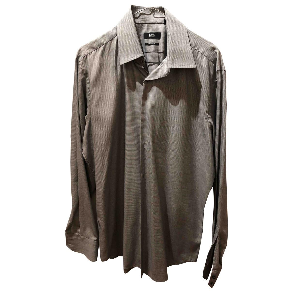 Hugo Boss \N Grey Cotton Shirts for Men 41 EU (tour de cou / collar)