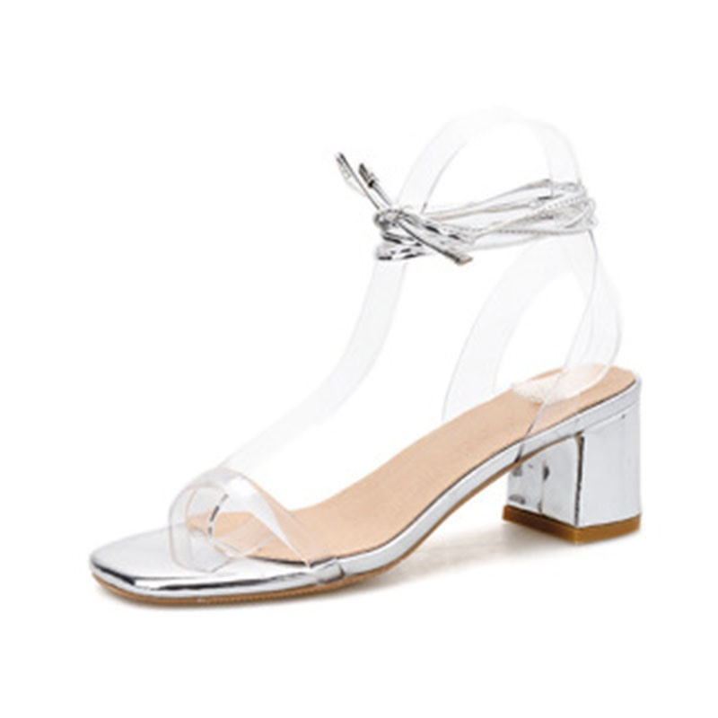 Ericdress Open Toe Chunky Heel Lace-Up Casual Sandals
