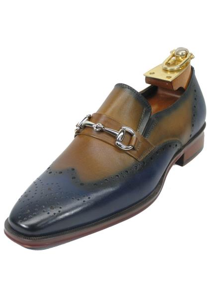 Men's Two Toned Tan Leather Fashionable Slip On Style Wing Toe Shoes