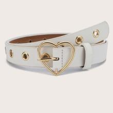 Eyelet Decor Heart Buckle Belt