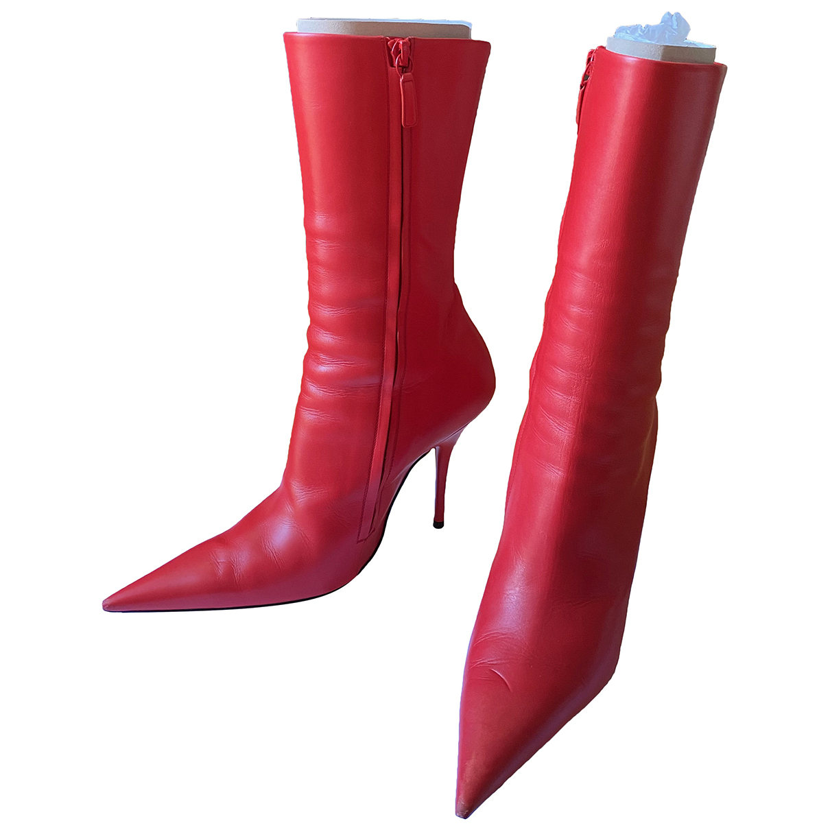 Balenciaga Knife Red Leather Ankle boots for Women 37 EU