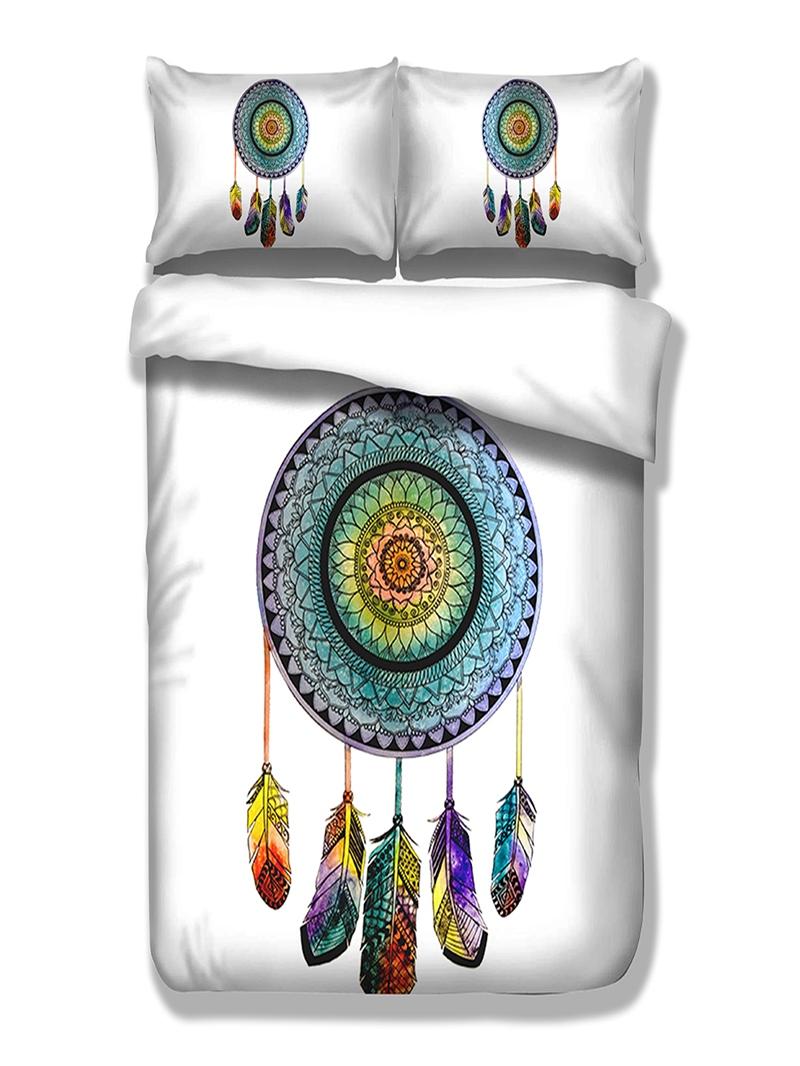 Vivilinen 3D Dream Catcher Printed Polyester 3-Piece White Bedding Sets/Duvet Covers