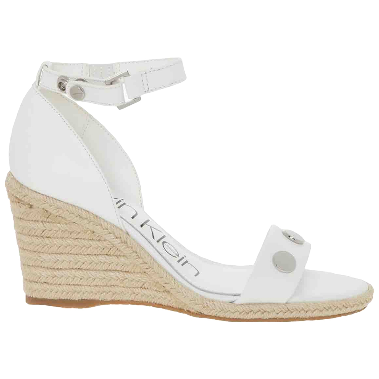 Calvin Klein \N White Leather Sandals for Women 38 EU